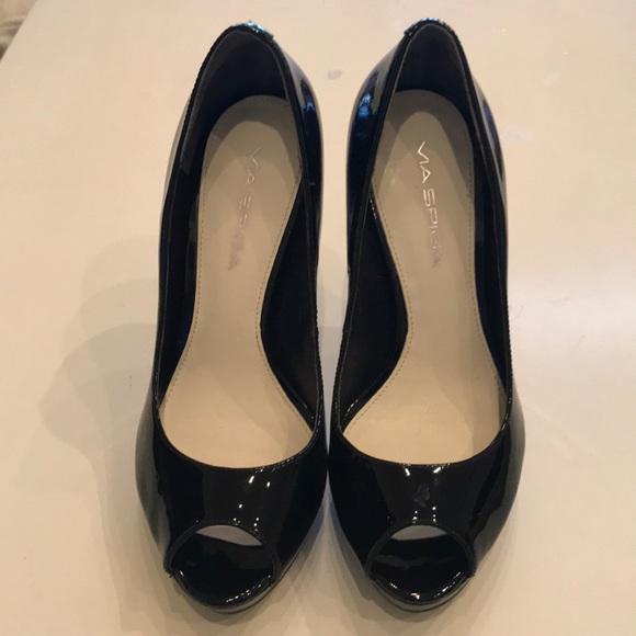 Via Spiga Black Patent Leather Peep Toe